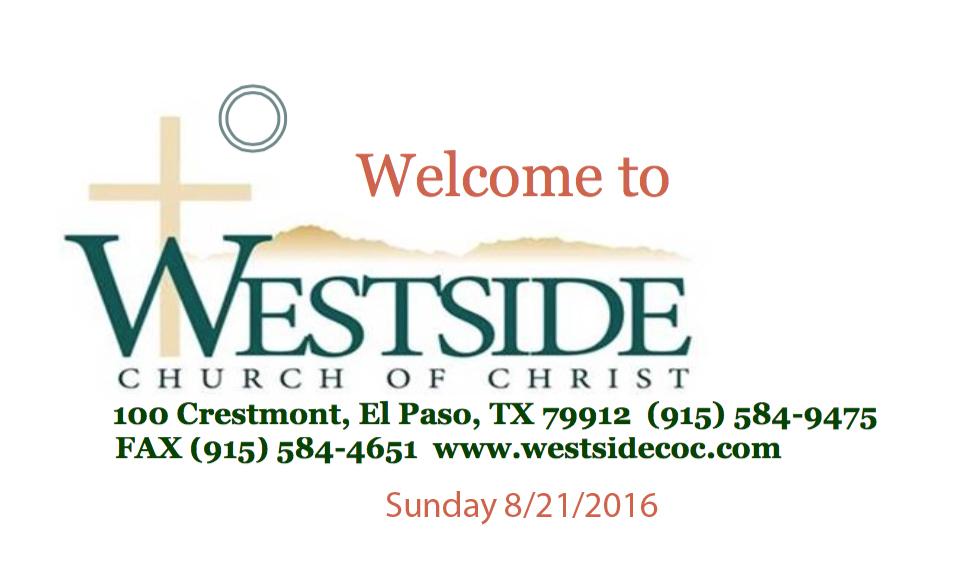 Westside Handout 8/21/2016