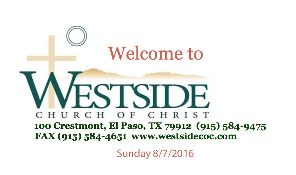 Westside Handout 8/7/2016